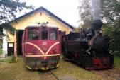 """Zatápění """"Rešicy"""" před výtopnou v Osoblaze ve společnosti motorové lokomotivy 705 913."""