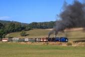 Slavnostní parní vlak v čele s oběma místními úzkorozchodnými lokomotivami již vyrazil na svou cestu. Zde zdolává stoupání mezi Třemešnou a Liptaní.
