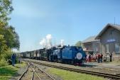 Příjezd slavnostního vlaku do cíle své cesty, do Osoblahy.