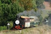 První parní vlak z Osoblahy do Třemešné v čele s Rešicou před Bohušovem.