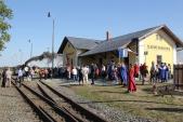 Sláva na rudoltickém  nádraží s parní vlakem.