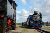 Křižování parních vlaků ve Slezských Rudolticích.