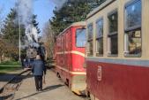 Posun v Osoblaze za přítomnosti parní lokomotivy U57.001 a motorové lokomotivy U57.001.