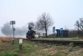 Mikulášský parní vlak  vjíždí do zastávky Dívčí Hrad.