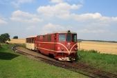 Horní Povelice ještě s manipulační kolejí a vlak ČD s lokomotivou 705 917, 26.7.2008.