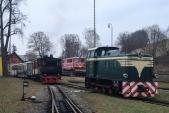 """Miuklášské jízdě parního vlaku s Rešicou U46.002 přihlížela """"sedmnáctka"""" z transportního vagónu. 1.12.2018."""