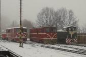 Přípravy na odvoz lokomotivy č. 17. Posunu se účastnily lokomotivy 705 917, 705 913 a TU38.001. Třemešná ve Slezsku, 22.11.2018.