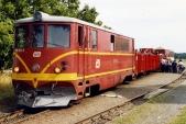 705 913 s vlakem SZD ve Slezských Rudolticích v létě 2004